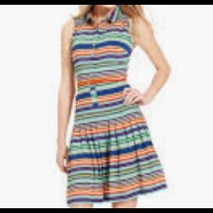Calvin Klein striped pleated dress with belt